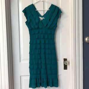 Max Studio Teal Ruffle Dress Medium